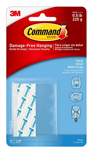 Command Small Replacement Decorating Strips, Easy On-Easy Off, 12-Strips