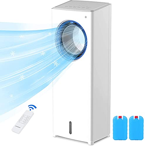 4-in-1 Evaporative Air Cooler, Mobile Air Conditioners, Tower Fan, Cooling & Humidifier & Purifier, Silent,3 Speed 4 Modes  Remote Control  Auto Oscillation 8H Timer for Home,Office