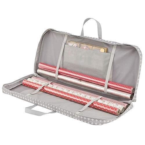 mDesign Tragetasche für Geschenkverpackung – Ordnungssystem für Geschenkpapierrollen mit 1 Fach für Geschenkbänder und Schleifen aus Kunstfaser – tragbarer Geschenkpapier Organizer mit Griffen – grau