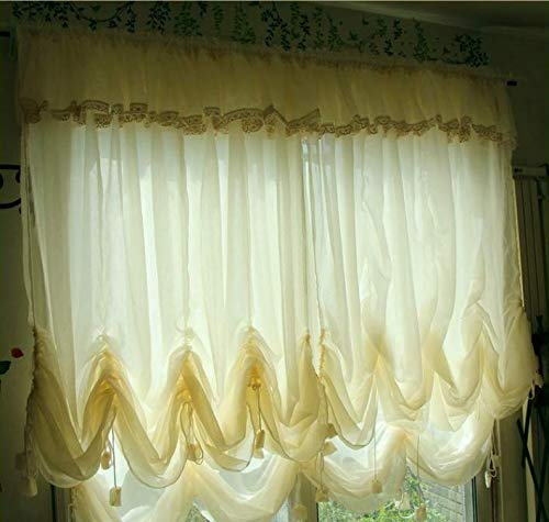 """FADFAY Farmhouse Beige Sheer Balloon Curtain with Valances,Adjustable Tie-Up Curtain Shades,1 Panel Shabby Tulle Curtains for Window 78""""x59"""""""