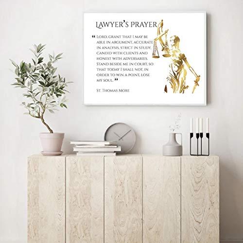lubenwei Impresión de oración de Abogado, Cuadro de Arte de Pared de Ley, Pintura en Lienzo, póster de Abogado, decoración de la Pared de la Oficina del Abogado 50x70cm No Frame W-1047