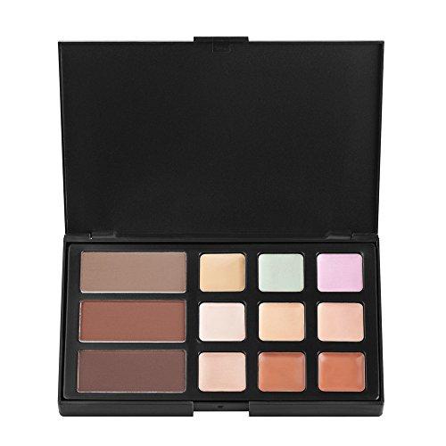 FantasyDay® 9 Couleurs Palette de Maquillage Correcteur Camouflage Crème Cosmétique Set avec 3 Poudre de sourcils - Convient Parfaitement pour une Utilisation Professionnelle ou à la Maison