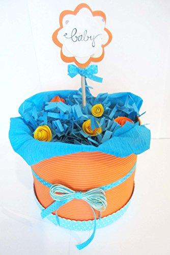 Torta di Pannolini DODOT | Modello FIORI D'ARANCIO | Personalizzabile con il Nome del Bebé | Diaper Cake | Baby Shower Gift Idea | Tono Neutro, UNISEX (per Femminucce e Maschietti)