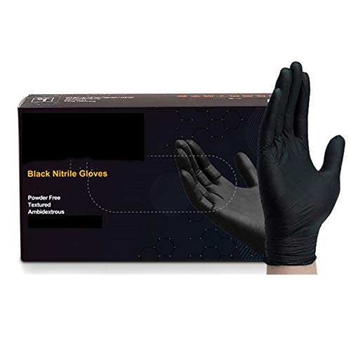 Wegwerphandschoenen, 100 Stuks Poeder-Free Verdikte Protective Hand Handschoenen, Anti-Acid Rot Nitrielhandschoenen, Stofvrij Workshop Nitrielhandschoenen, Black,M