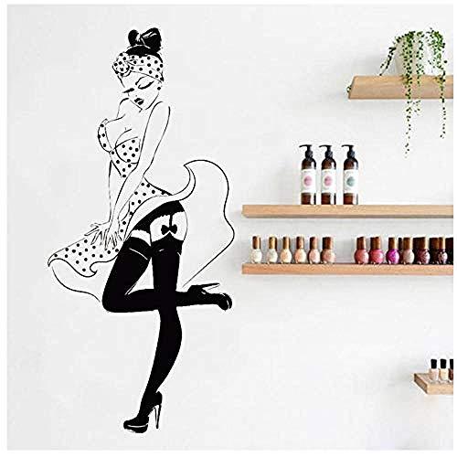 Pin Up Sexy Girl Wall Decals de vinilo Retro Mujer Pegatinas de pared Dormitorio Tienda Decoración de la ventana Poster Decal Salon de belleza Sticker42x90cm