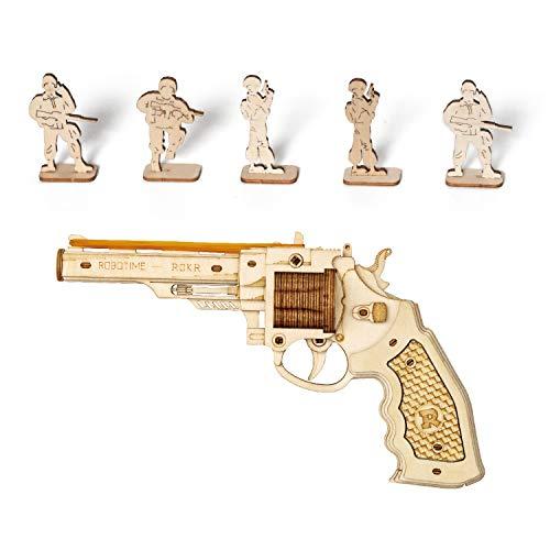 ROKR Wooden Toy Gun Rubber Band Gun 3D Wooden Puzzle Corsac M60