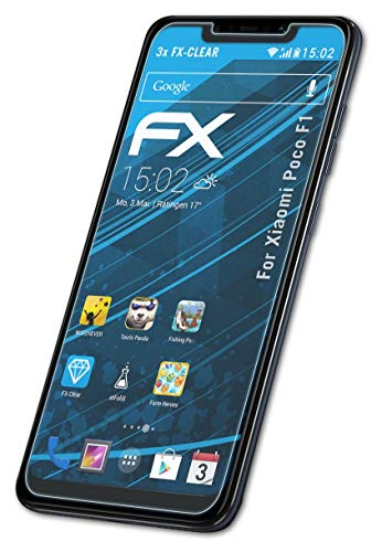 atFolix Schutzfolie kompatibel mit Xiaomi Poco F1 Folie, ultraklare FX Bildschirmschutzfolie (3X)