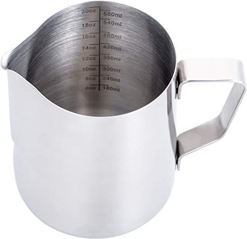 Espresso Milk Frothing Pitcher 20 oz,Espresso Steaming Pitcher 20 oz,Coffee Milk Frothing Cup,Coffee Steaming Pitcher 20 oz/600 ml