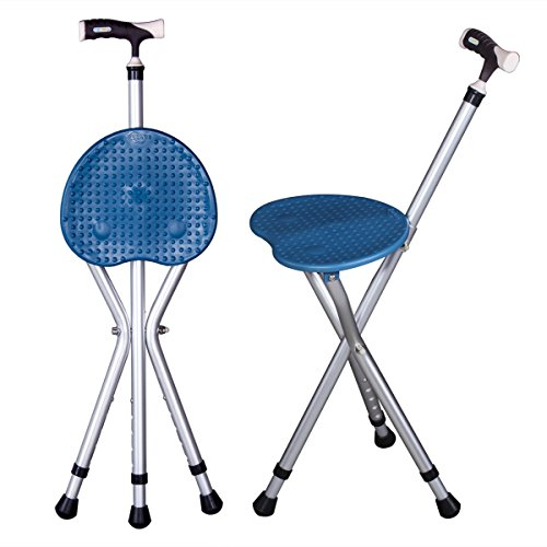 Folding Cane Seat Combo 400 lbs Capacity Portable Cane Stool Handy Folding Crutch Chair Seat 3 Legs Height Adjustable Heavy Duty Thick Aluminum Walking Stick Tall Unisex for Elderly Travelon Blue