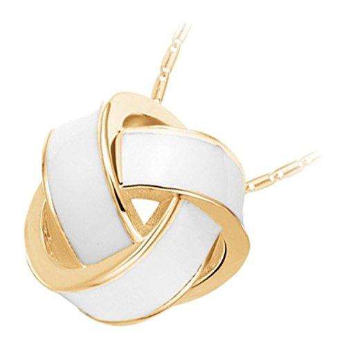 GWG Jewellery Collane Donna Regalo Collana Placcata Oro 18K Originale Ciondolo Nodo con Inserto Bianco per Donne