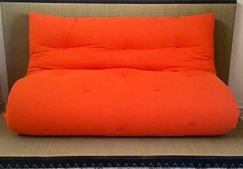 Sofá cama futón de doble cara con base Tatami, colores rojo/naranja, tamaño futón 120 x 200 cm
