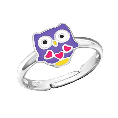 Kinder Ring Fingerring Eule Herzchen lila verstellbar 925er Silber Mädchen
