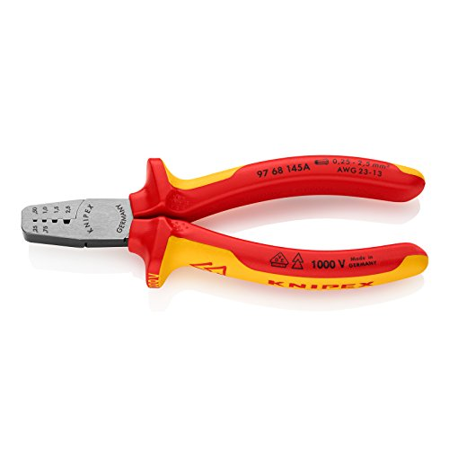 KNIPEX Alicate para crimpar punteras huecas aislado 1000V (145 mm) 97 68 145 A