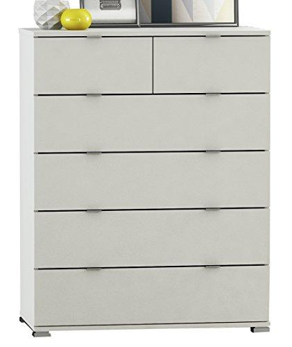 demeyere Schuhschrank 4 Klappen Perfect, Spanplatten, Perle Weiß, Leinen, 80.8 x 17.8 x 151.2 cm