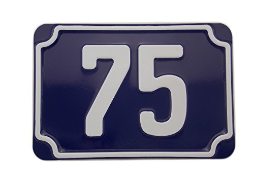 geprägtes blaues Hausnummernschild aus Aluminium 160 x 110 mm