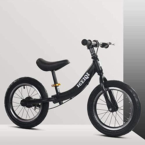 Wxnnx Bici Senza Pedali con Freni, Pneumatici in Gomma ad Aria e Sedile Regolabile, Bicicletta Senza Pedali da 14 Pollici per Allenamento a Piedi per Bambini dai 3 ai 7 Anni,C