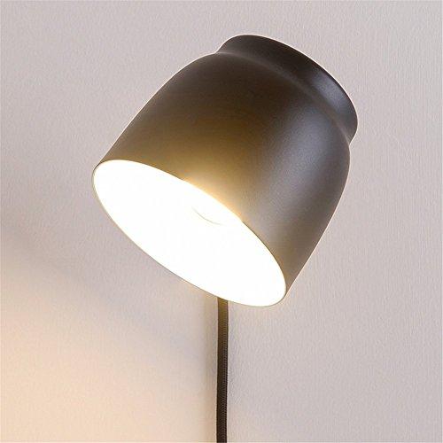 Wandleuchte Innenbeleuchtung 360 ° Drehbare Verstellbare Nachttischlampe Moderne Kreative Einfachheit Schwarz Matt Hochtemperatur Schmiedeeisen Massivholz Wandlampe Mit Schalter Und Stecker
