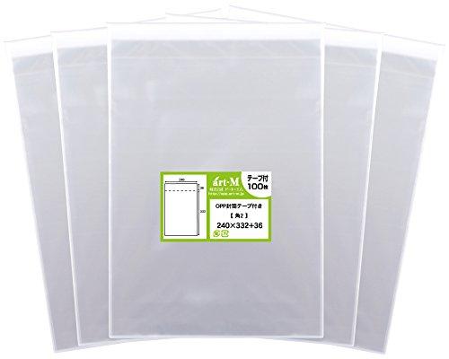 【国産】テープ付 角2【 A4サイズちよっと大きめ用 】透明OPP袋(透明封筒)【500枚】30ミクロン厚(標準)240x332+36mm