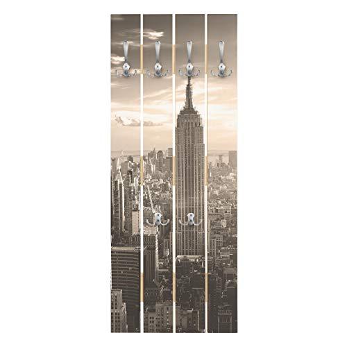 Bilderwelten Perchero de Madera - Manhattan Skyline - Ganchos cromados - Vertical 100 x 40cm