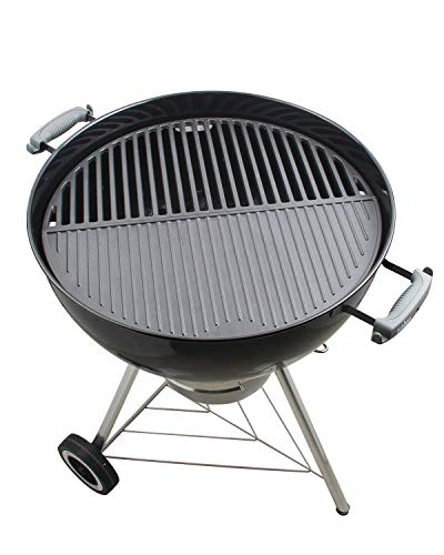 """KAMaster 22"""" Half Moon Cast Iron Cooking Grate Grill Accessory Replaces For Weber Charcoal Grill Half Moon Grate+Griddle+4 Support Extension,Cooking Grate for Big Green Egg and Other Kamado Grills"""