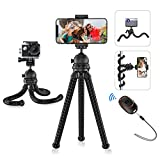 Mpow Phone Tripod, Flexible Camera Tripod with Bluetooth Remote Shutter & 360° Rotation, Portable Camera Tripod Stand Compatible with GoPro and Small Camera, Smartphone 11 Pro Max/XS/Max/XR/x/8/8P/7