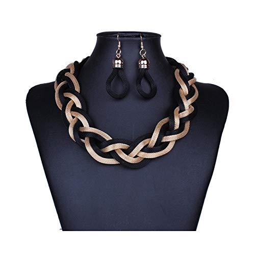 THTHTHT Modieuze halsketting van metaal, oorbellen voor dames, slang, meerlaags, wapening, eenvoudig, klassiek, creatief, leuk cadeau Zwart Goud