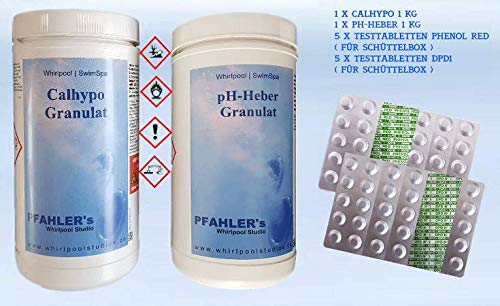 Calhypo – Chlor pH Heber Basis Set/Testtabletten pH Phenol red - Testtabletten Chlor DPD1. Whirlpool Wasserpflege Set
