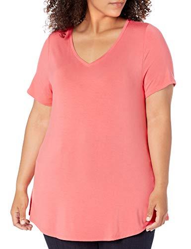 Amazon Essentials Plus Size Short-Sleeve V-Neck Tunic Shirts, Corail Vif, 52-54