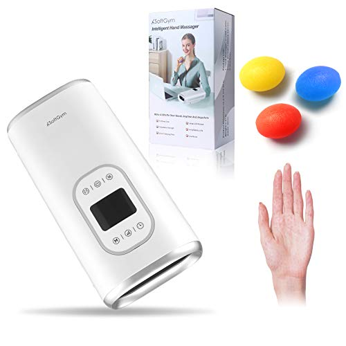 Cordless Electric Hand Massager Machine with Heating - Compression Air Pressure Point Therapy Massager for Arthritis, Carpal Tunnel, Pain Relief & Hand, Wrist, Palm and Finger Massager-White