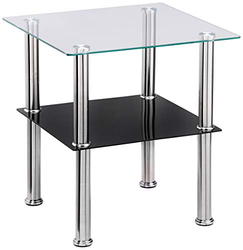 Haku Möbel mesa auxiliar, vidrio, acero inoxidable negro, 40 x 40 x 42 cm