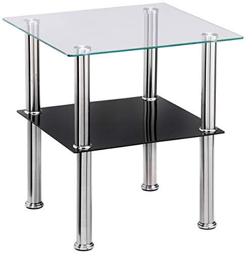 Haku-Möbel Beistelltisch, Sicherheitsklarglas, Edelstahl-schwarz, 40 x 40 x 42 cm