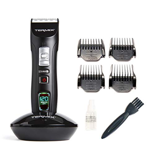 Termix Power Cut tondeuse à cheveux sans fil professionnelle, avec 3 jeux de lames réglables, système de régulation pour 3 hauteurs de coupe supplémentaires et batterie d'une autonomie de 120 minutes