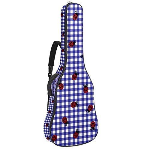 Ladybug - Bolsa de guitarra acústica para guitarra acústica (acolchado grueso, impermeable, doble ajustable, correa para el hombro