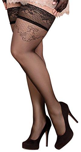 Unbekannt Ballerina Halterlose Damen-Strümpfe, schwarz, XL+, XXL+, Stockings, Spitze, Strapsoptik Grössen XL+