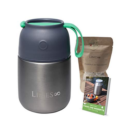 Limes 8  - Contenitore termico da 500/700 ml, in acciaio inox di alta qualità, a prova di perdite (grigio/verde 500 ml)