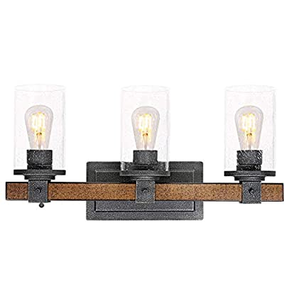 3-Light Farmhouse Vanity Light (LED Bulbs Included), 22 inch Industrial Bathroom Light Fixture with Seeded Glass Shades, Faux Wood Metal Wall Sconce for Bathroom, Kitchen, Hallway