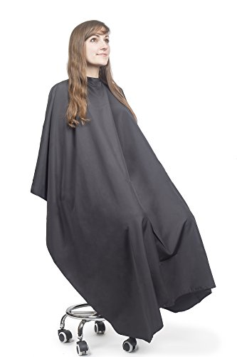 Hair Cutting Cape for Adults - Large Lightweight Water Resistant Salon Cape - Snap Closure - 60in x 57.5in - Haircut Cape - Hair Cape - Barber Capes (Black)