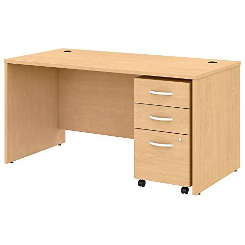 Bush Business Furniture Studio C Office Desk with Mobile File Cabinet, 60W x 30D, Natural Maple