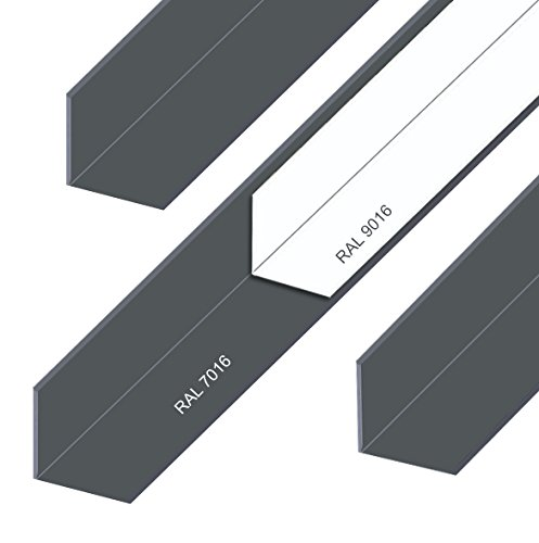 Aluminium Winkel Aluwinkel Walzblankes Aluprofil Winkelprofil Pulverbeschichtet Anthrazit Grau RAL7016 10x10x2mm 500mm Anthrazit RAL7016