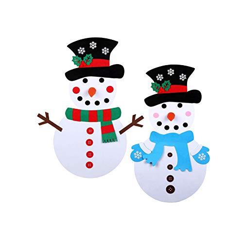 OMMO LEBEINDR Muñeco de Nieve de Fieltro 2 Set Navidad Juegos de Muñeco de Nieve DIY Muñeco de Nieve Colgante...