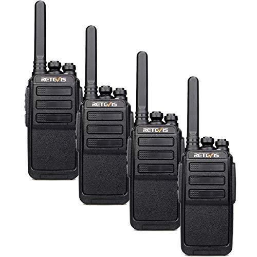 Retevis RT28 Walkie Talkie, PMR446 e 16CH, Ricetrasmettitore Portatile Ricaricabile con Cavo USB, VOX Squelch MONI, Allarme di Emergenza, Radio Ricetrasmittenti per Scuola, Attività (Nero, 4 Pezzi)
