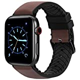 FITWORTH High End Hybrid Band Compatible with Apple Watch Band 42mm 44mm, Silicone + Genuine Leather, Simple, Neat & Sweat Resistant, Suit for Men's Business Casual & Light Sports (Chocolate, 42/44)