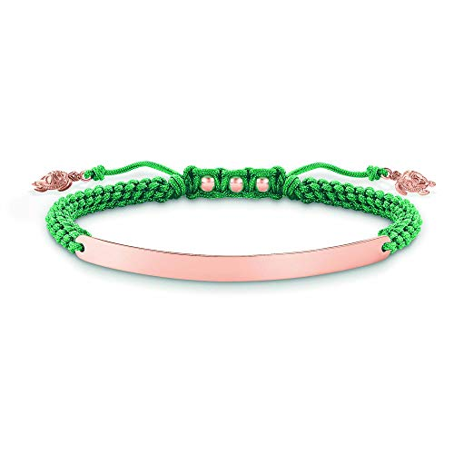 Thomas Sabo Damen-Armband Love Bridge 925 Sterling Silber 750 rosegold vergoldet Nylon grün Länge von 12 bis 19 cm Brücke 5 cm LBA0057-597-6-L19v