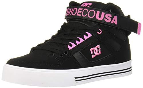 DC Women's Pure HIGH-TOP V Skate Shoe, Black/Pink, 5 M US