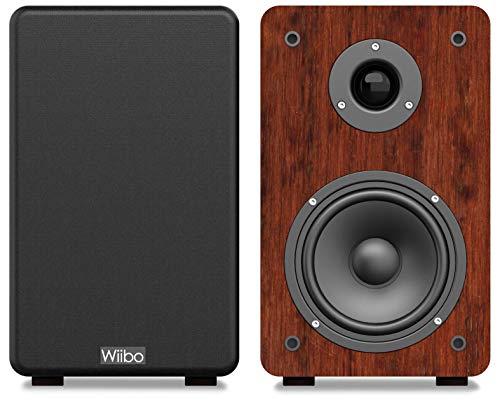 Wiibo - Karino 200 - Pareja de Altavoces HiFi - Potencia 100W - Altavoz Estantería - Salida Bass Reflex - 2 vías - Diseño Compacto - 250 mm x 180 mm x 300 mm - Color: Nogal, multicolor