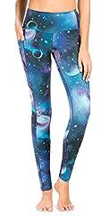 Sugar Pocket Womens Athletic Yoga Pants Printed Workout Yoga Leggings Fitness Tights, L, 81 Printed #3