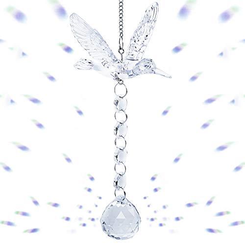 Herefun Colgante de Prisma, Colgante de Cristal de Colibrí con Bola de Cristal, Prisma de Cristal Transparente para Decoraciones de Jardín Oficina Ventanas (Transparente A)