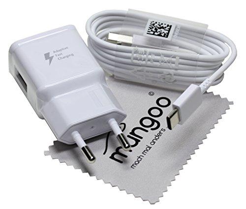 Ladegerät für Original Blitz Schnell Samsung USB Typ-C Kabel Ladekabel für Samsung Galaxy TabS3 9.7/WiFi (SM-T820N/T825N) mit mungoo Displayputztuch