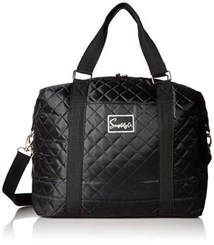 """Bolsa de viagem para viagem durante a noite com alça para carregar no ombro e bolsa de viagem (40,6 ou 35,56 cm), Preto, 8"""" x 12"""" x 16"""" - 25 liters (Large)"""