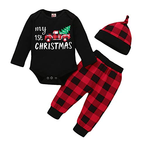 My First Christmas Outfit Baby Boy Long Sleeve Truck Rompers Xmas Plaid Pants Hat Clothes Set (Black, 0-3 Months)